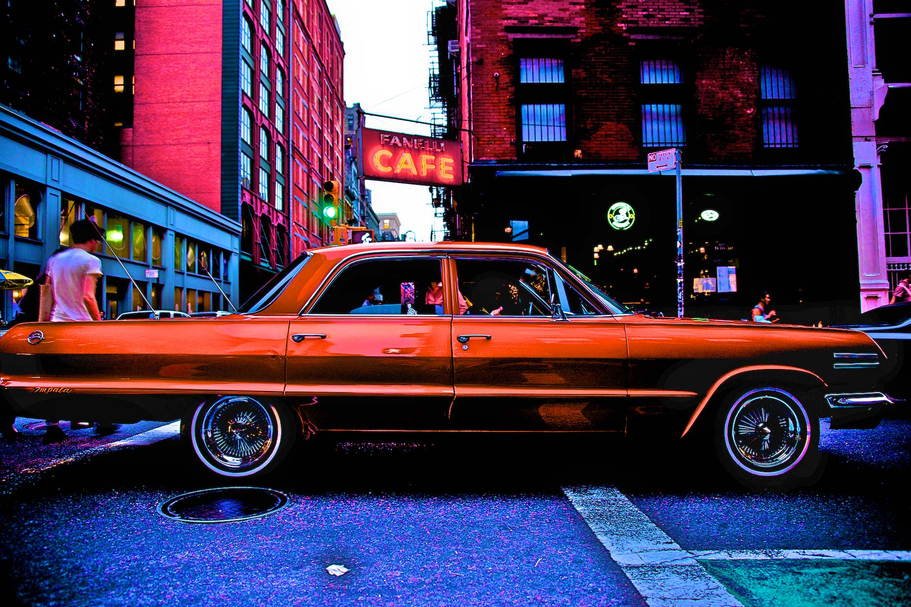Vintage Chevy Impale Lowrider car in Soho,NYC.